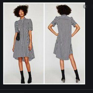 Zara Striped Shirt Dress M Black White Striped